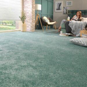 Teppichboden grün in Wohnzimmer